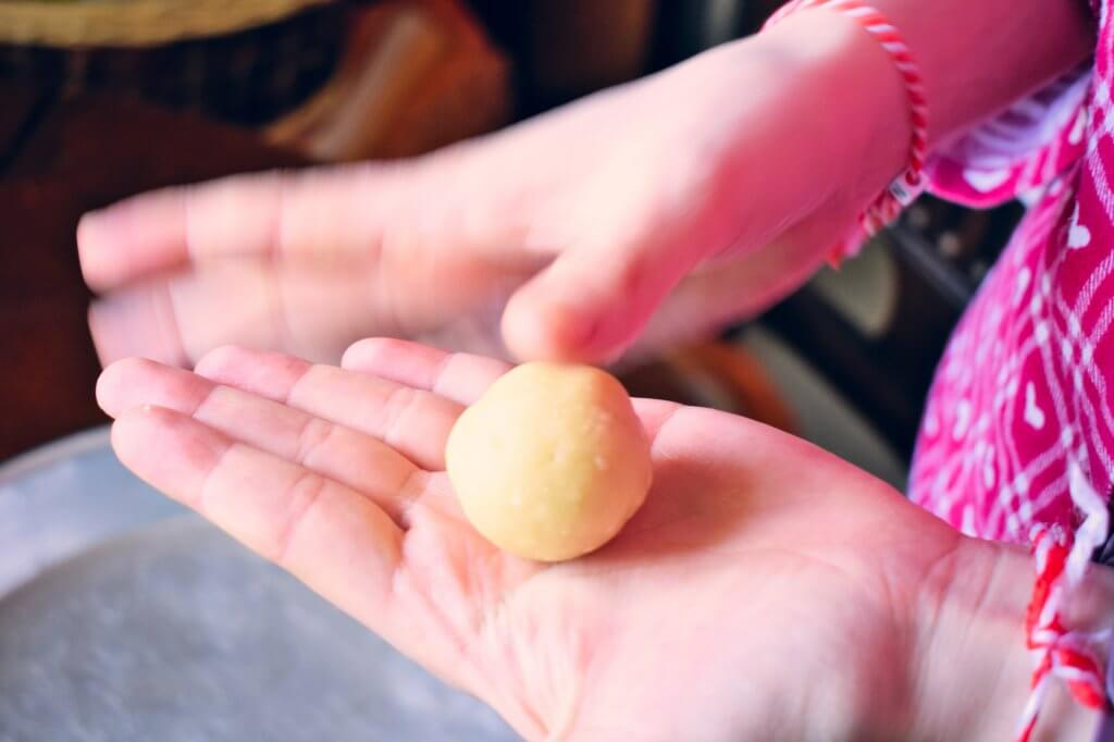 Dough rolled into ball-shape