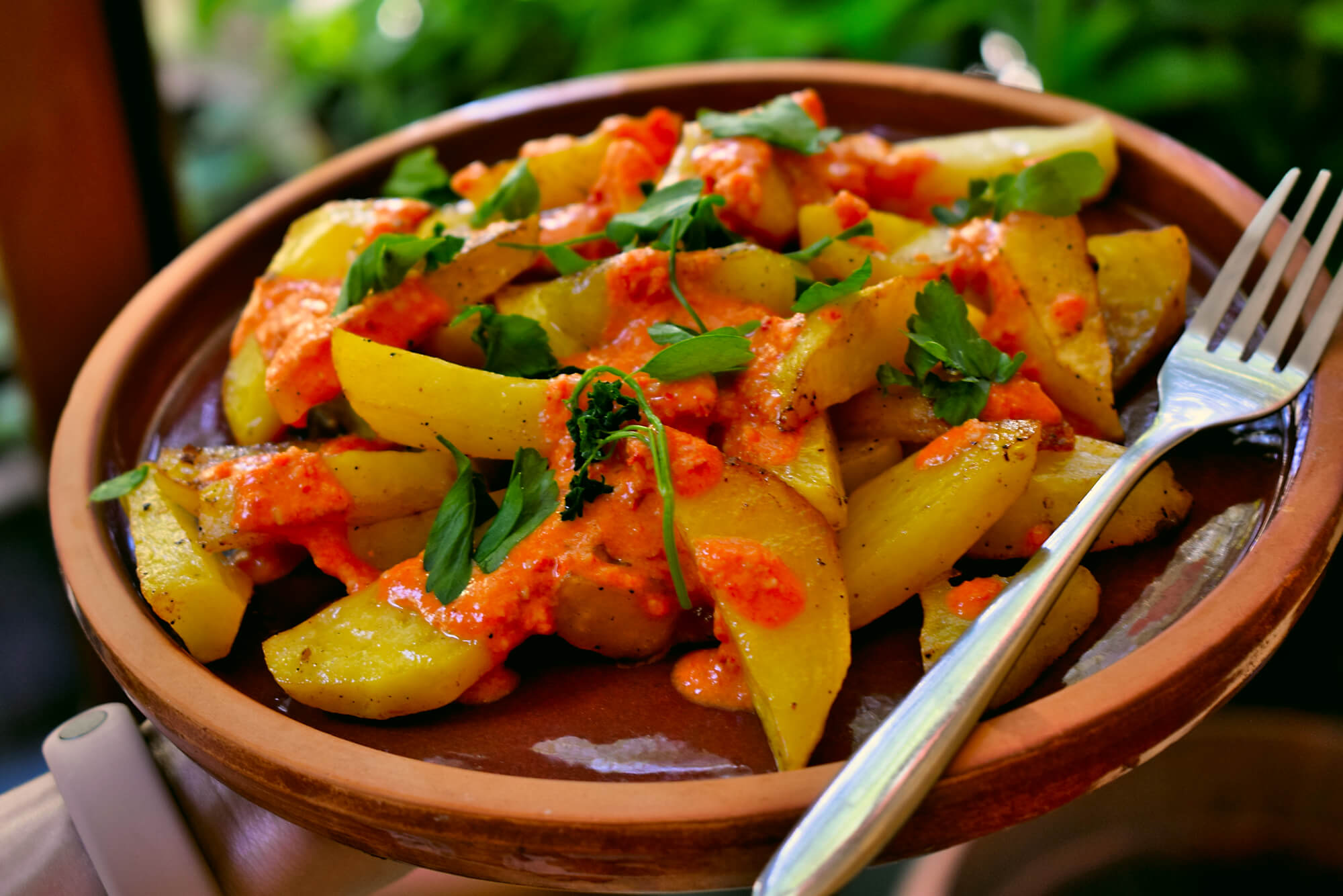 Baked Potato Wedges with Harissa Sauce