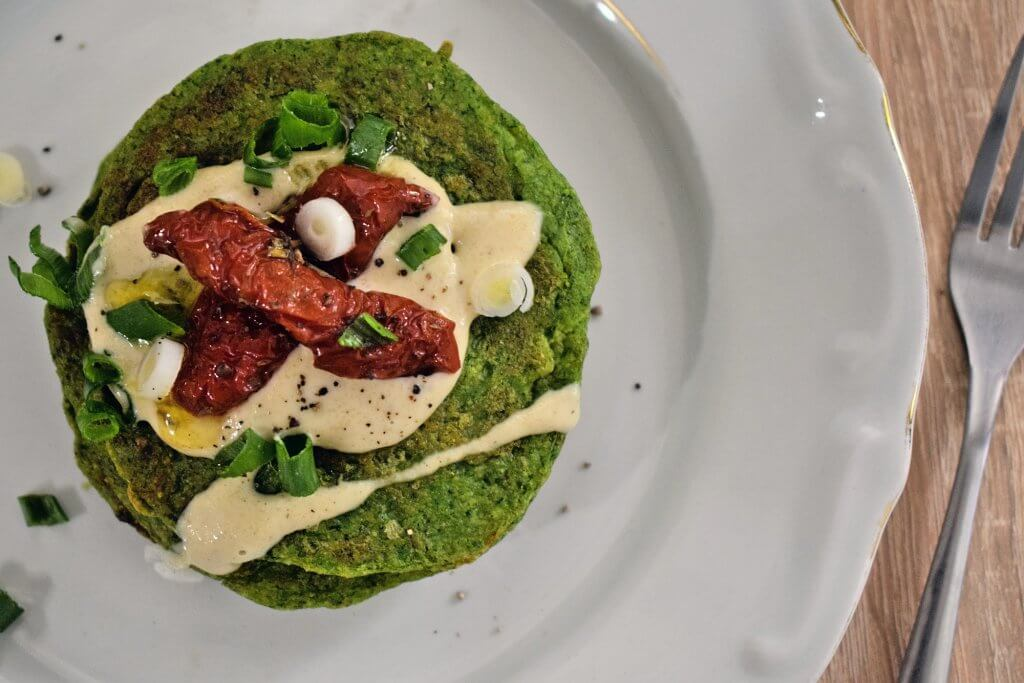 Pea and Spinach Pancakes with Polenta [gluten free]