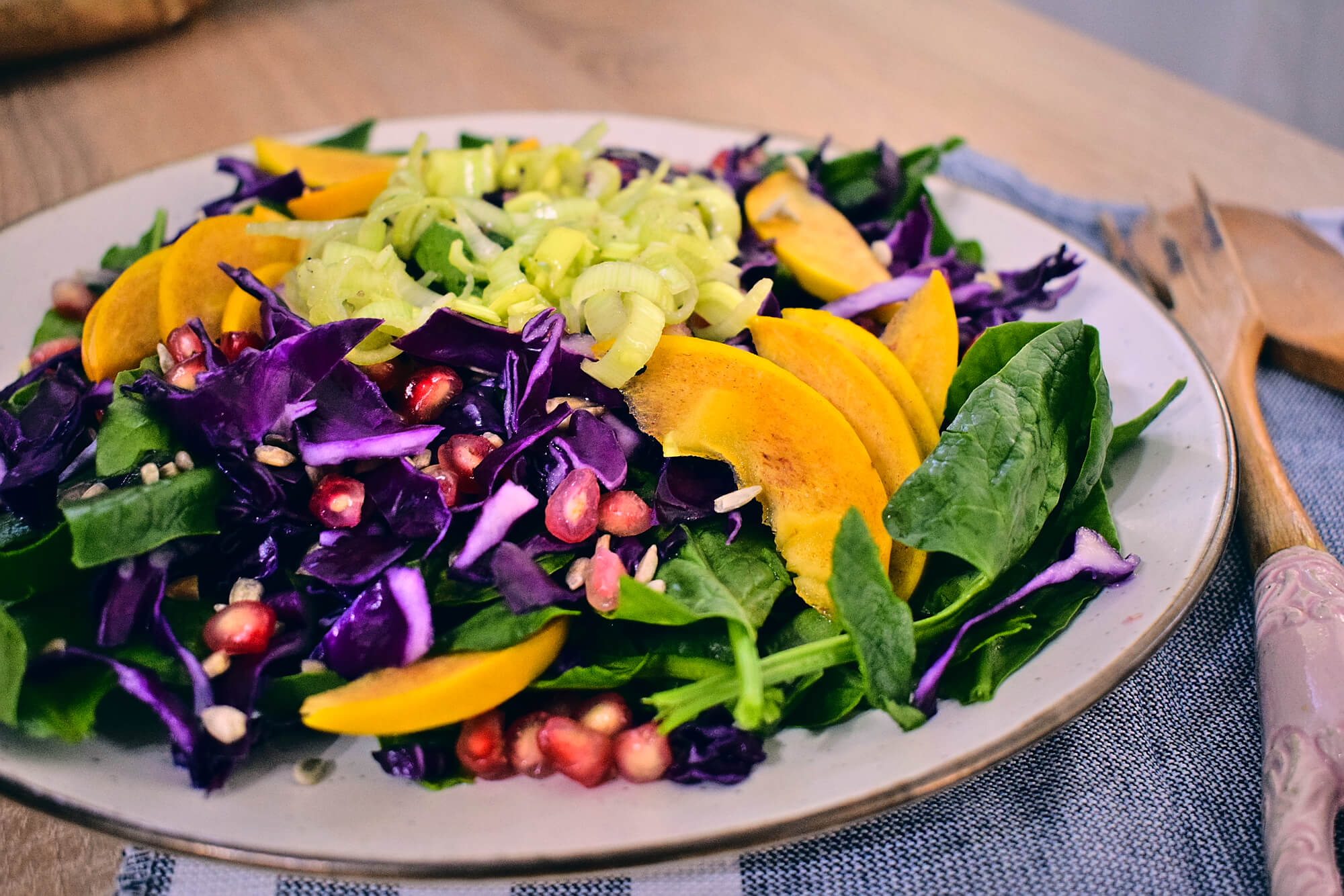 Persimmon Spinach Salad with Leek Dressing